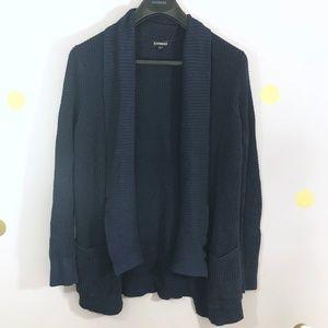 Express Dark Blue Navy Waffle Knit Open Cardigan